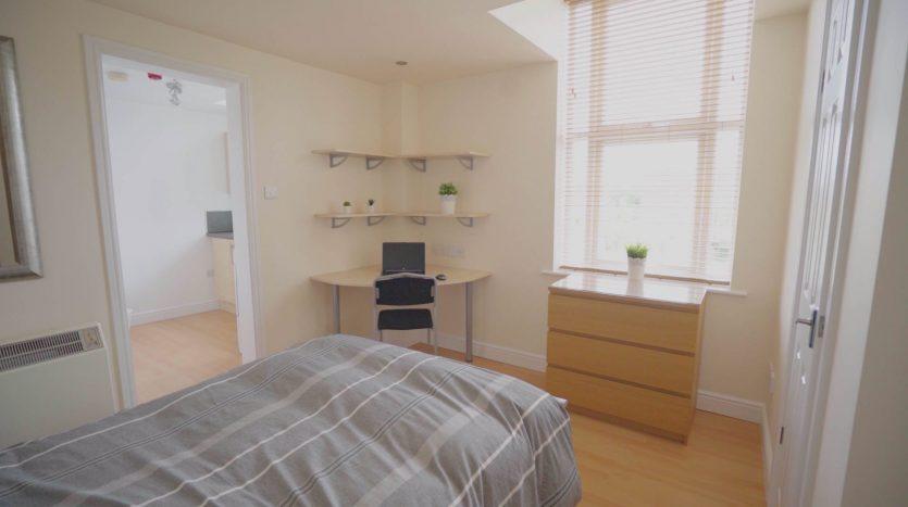 student studio apartment Loughborough bedroom